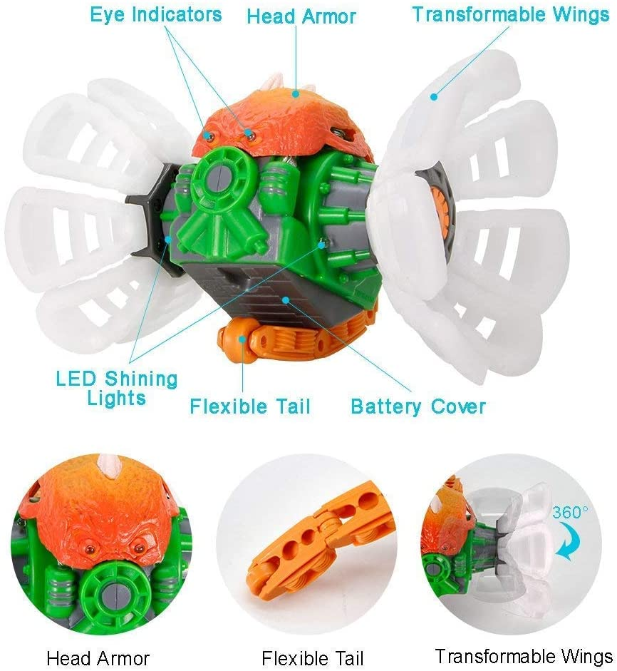 Remote Control Larvae Super Power, MakeTheOne Kids Transformable Dinosaur Toy, Super Durable Rugged RC Vehicles, 360 Degree Rotating W/ Electronic Music & Cool LED Lights, White