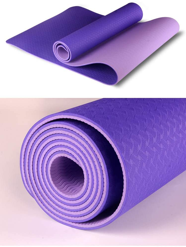 Nobranded Two Color TPE Yoga mat 6mm Long Fitness mat Environment Friendly, Tasteless and Antiskid Yoga