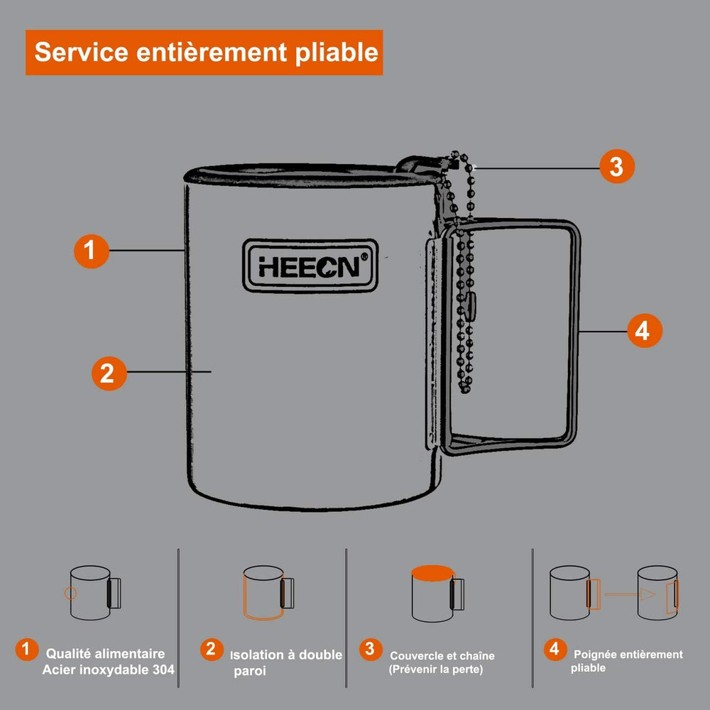 HEECN Outdoor equipment Camping Mug with Lid and Folding Handles Eco-Friendly Gifts HESS-007R (0.3l)
