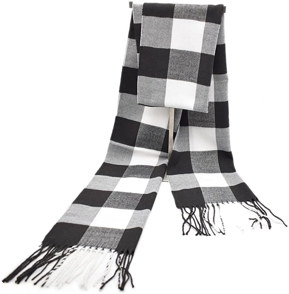 Winter Fashion Soft Cashmere Check Print Scarf for Men Women