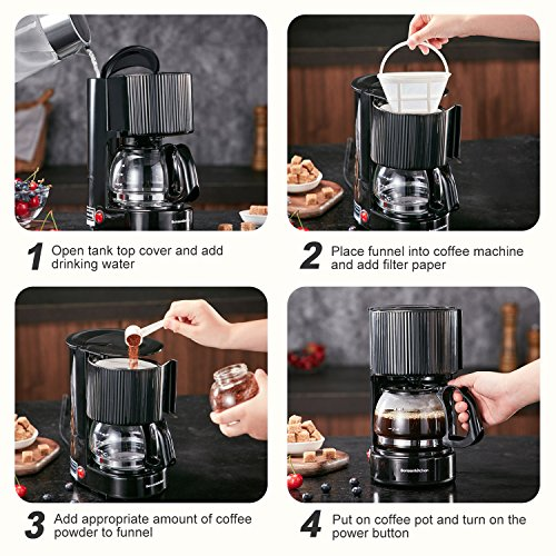 4-Cup One-Button Coffee Maker with Permanent Filter and Anti-Drip System