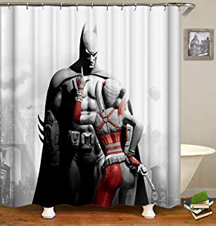 Black & White Cartoon Shower Curtain Waterproof Polyester Fabric With 12 Hooks