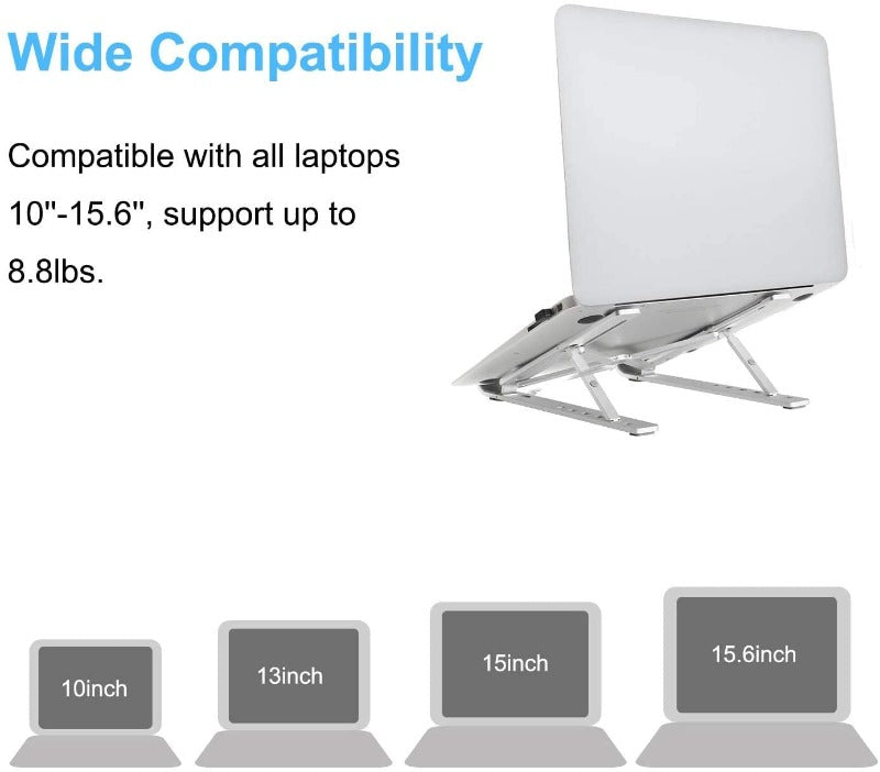 Adjustable Aluminum Laptop Tablet Stand-Foldable-Portable-Compatible