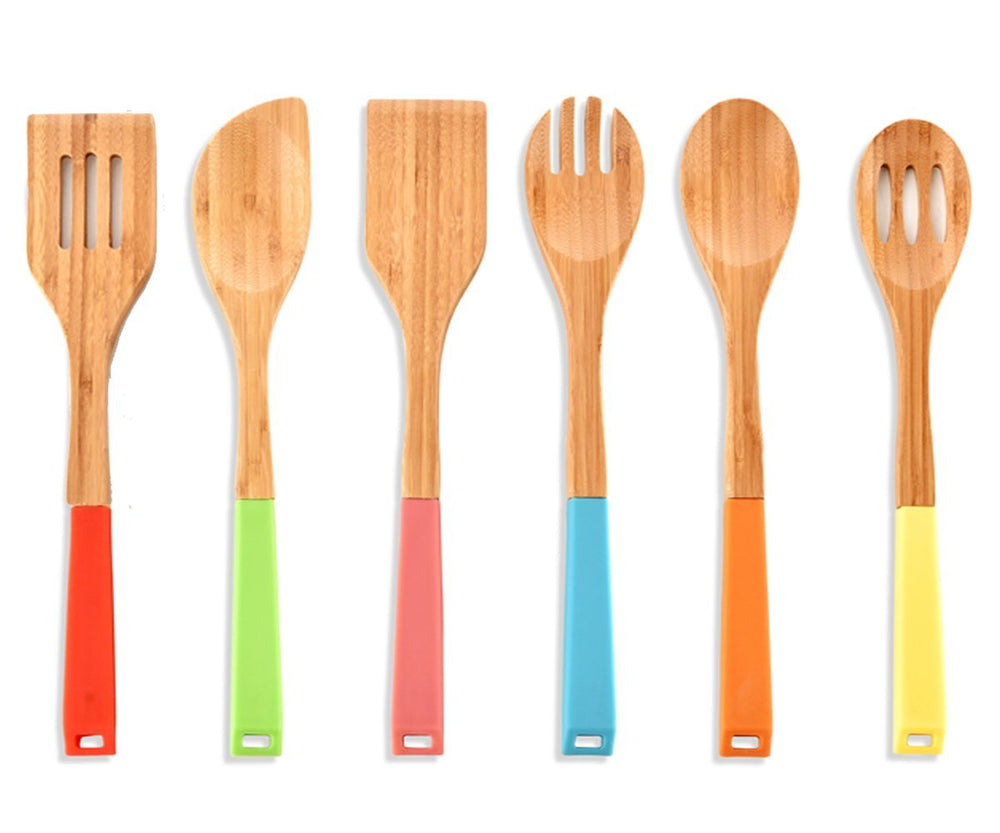 RC Collection Premium Kitchen Cooking Utensils Bamboo Spoon Spatula, 6 Set of Bamboo Kitchen Tools.