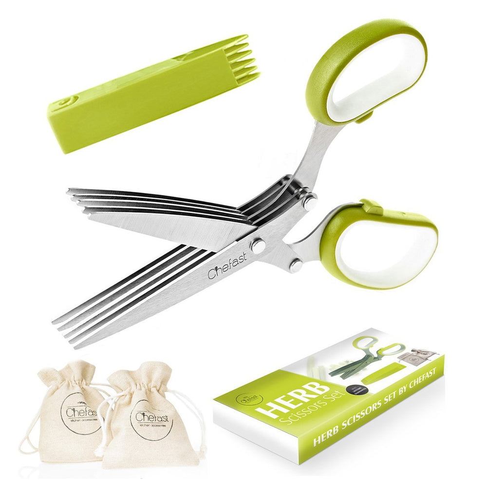 Herb Scissors Set by Chefast - Multipurpose Cutting Shears with 5 Stainless Steel Blades, 2 Jute Pouches, and Safety Cover with Cleaning Comb - Cutter/Chopper/Mincer for Herbs - Kitchen Gadget