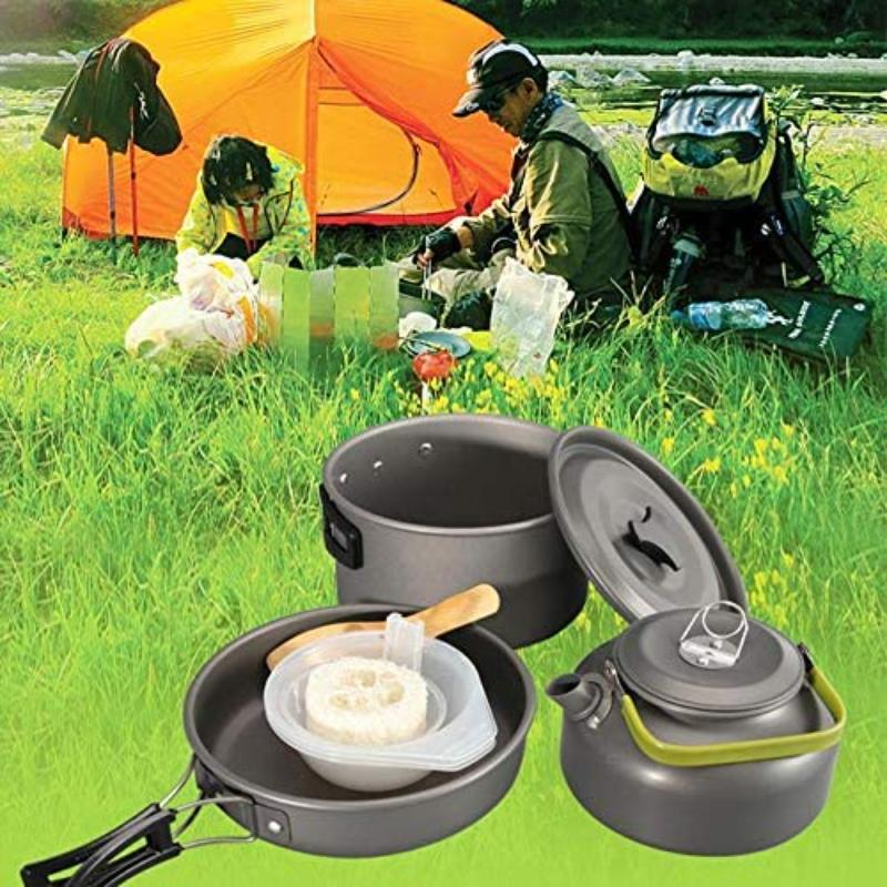 LVCHEN Camping Cookware Mess Kit Gear Cooking Equipment Cookset Lightweight Compact Durable Pot Pan Bowls for Backpacking Outdoor Camping Hiking Picnic Survival Cooking