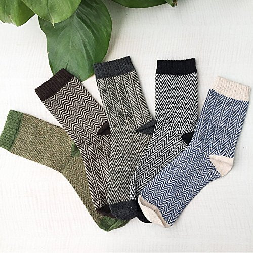 4-5 Pack Womens Thick Knit Warm Casual Wool Crew Winter Socks