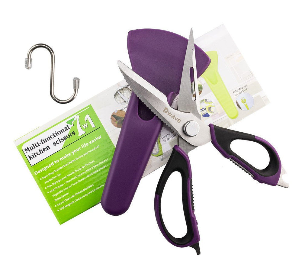 Shears Heavy Duty Take Apart For Easy Clean Utility Scissor Stainless Steel Multi Function with Magnetic Sheath, Perfect For Chicken, Poultry, Fish, Seafood, Herbs, BBQ