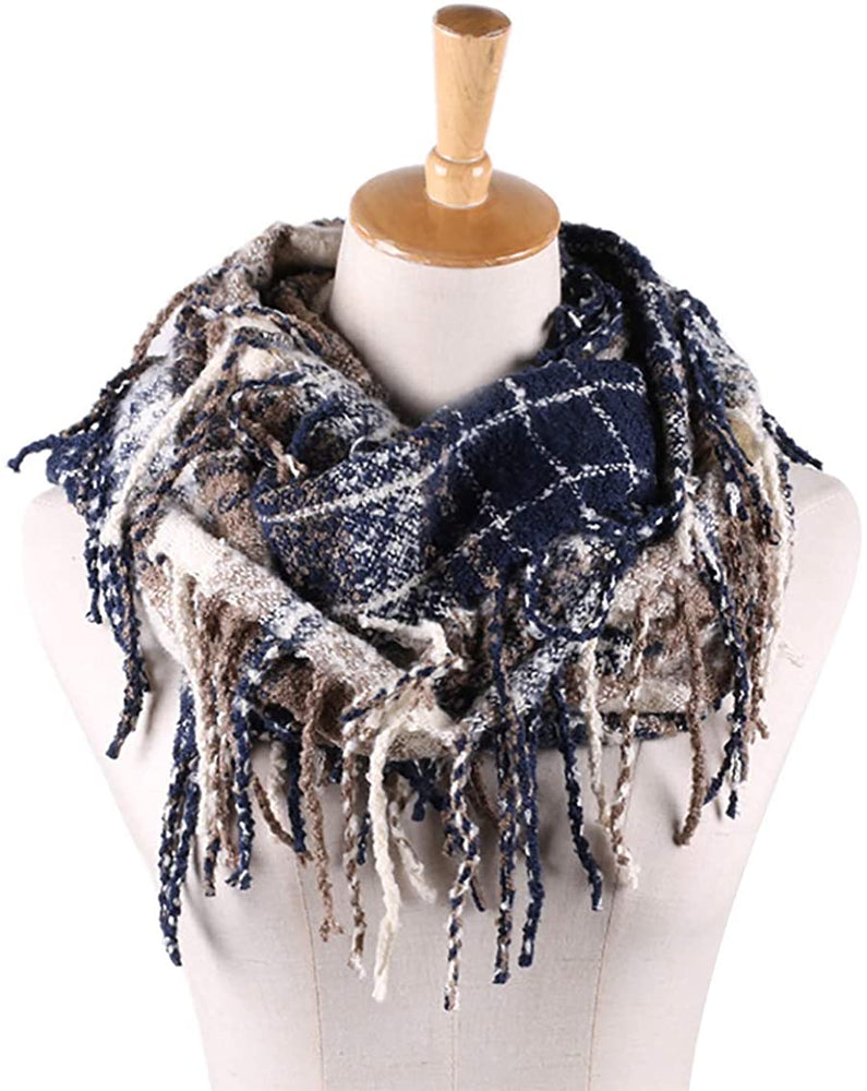 Womens Winter Plaid Infinity Scarf Warm Tassel Circle Loop Scarves & Knit Fall Scarfs for Women