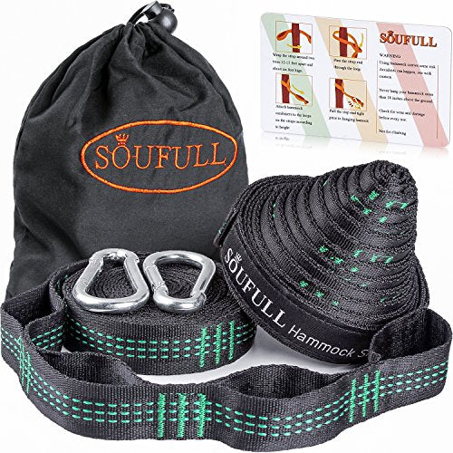 Soufull XL Hammock Straps Outdoor Tree Straps with 2 Carabiners,40 Loops Combined 20Ft Long,1400LBS Breaking Strength,Tree Friendly,Quick&Easy Setup