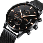 Classic Mens Military Watches Stainless Steel 3 Sub Dial Luminous Hands Chronograph Date Week Rose Gold Watches Waterproof