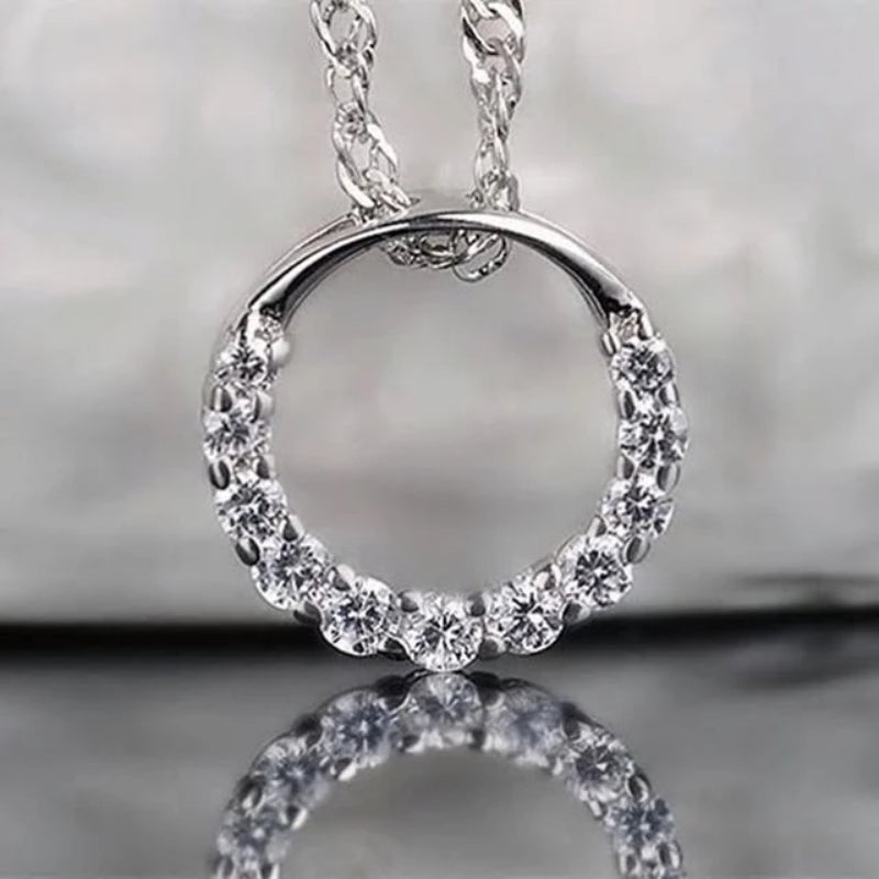 Crystal Circle 925 Sterling Silver Pendant & Necklace