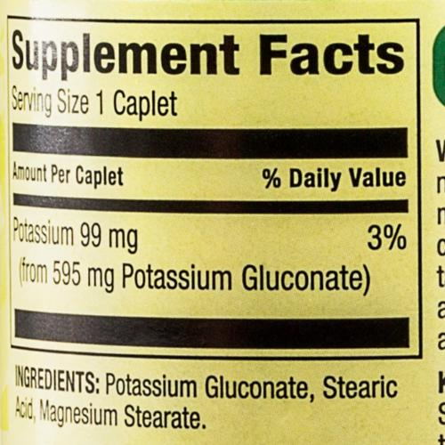 99mg Potassium Caplets Dietary Supplement - 250 Ct