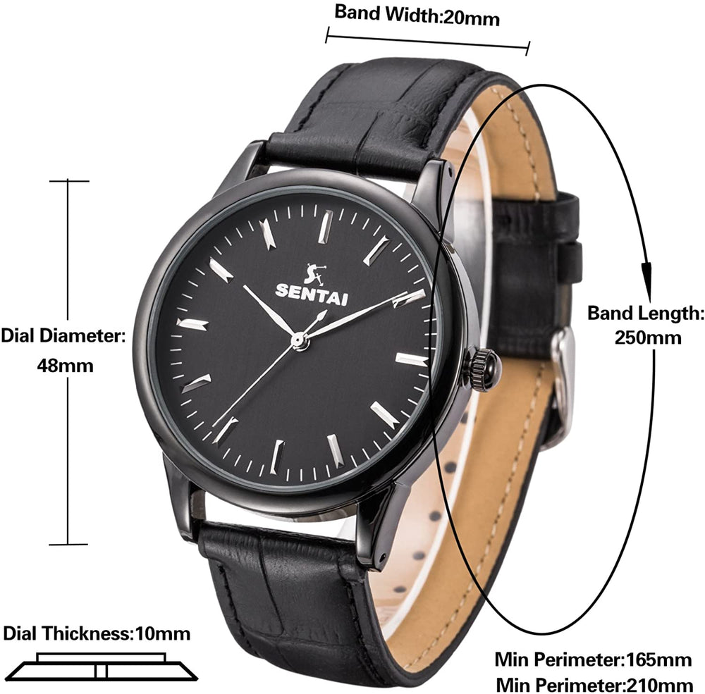 Unisex Leather Watch, Sentai Stainless Steel Quartz Mens Womens Brown Leather Wrist Watch, Classic Business Casual Watch for Unisex 30M Waterproof
