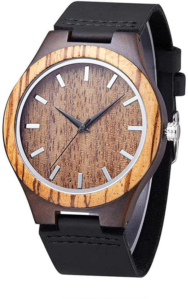 Unisex Wooden Watch for Men and Women Analog Quartz Lightweight Handmade Casual Watches with Cowhide Leather Strap