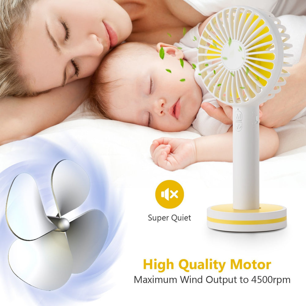OBOSOE Portable Handheld Fan, Small Personal USB Rechargeable Desk Fan with Gust Mode and Magnetic Mirror Base, Cooling for Office, Bedroom, Traveling, Camping, Outdoor Sports, White