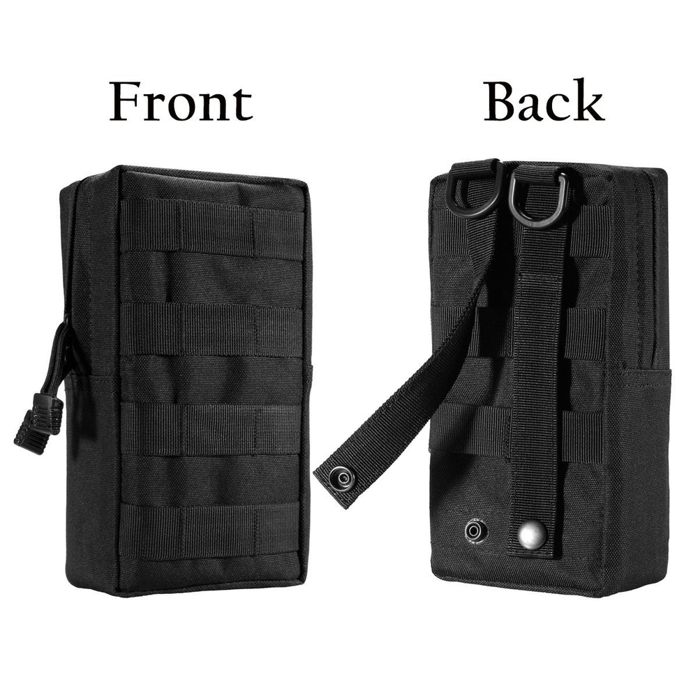 Zeato EDC Tactical Military MOLLE Phone Pouch Waist Clip-On Holster Bag with Belt Clip 1000D Nylon Touch Duty for iPhone X 7 Plus 6S 6 Plus Galaxy Note 5 S8 S7 S6 Edge LG Sony and More (Black)