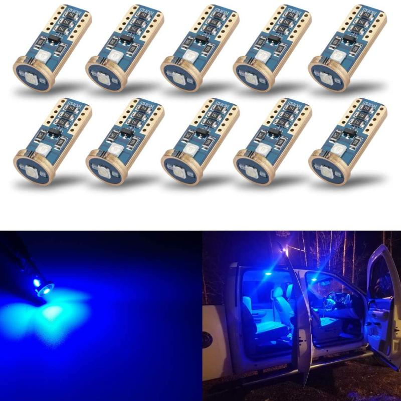 10 Pack LED Extremely Bright Wedge Interior Exterior Dome Plate Vehicle Lights