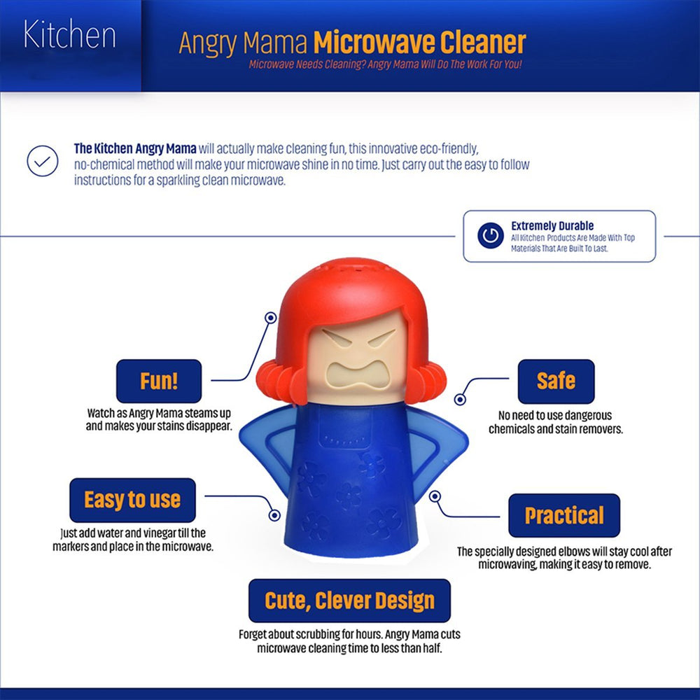Angry Mama Microwave Oven Steam Cleaner Steam Cleans and Disinfects With Vinegar and Water for Home or Office Kitchens,Easily Cleans the Crud in Minutes (Red Hair)