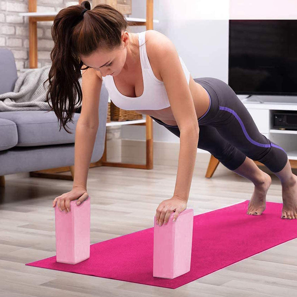 DOTSOG 2pcs Yoga Blocks and Strap Set Brick Foam Yoga Brick Support Deepen for Yoga Pilates Yoga Accessories