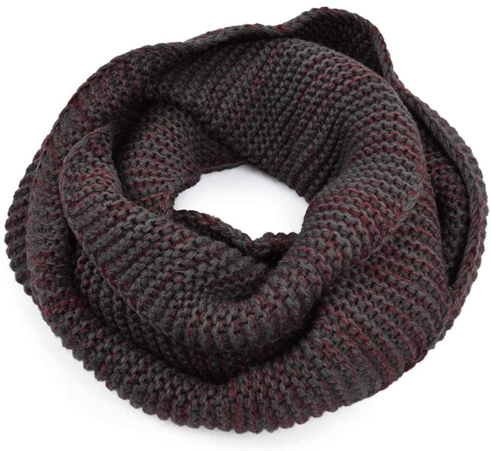 Two-Tone Winter Knit Warm Infinity Loop Circle Scarf