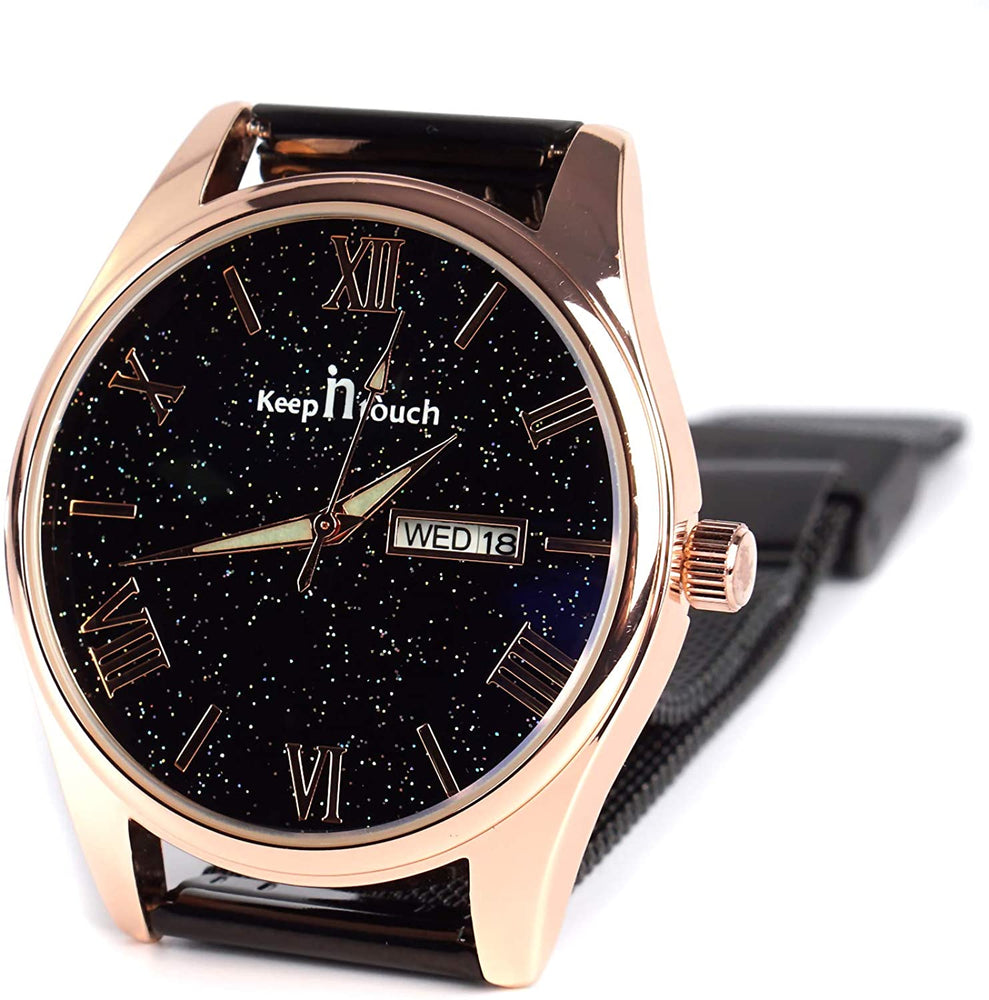 Watch Men's Minimalist Watch Fashion Ultra-Thin Watch Classic Casual Business Watch Roman Pointer Quartz Calendar Calendar Waterproof Luminous Watch Milan Mesh Belt Starry Dial