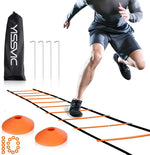 YISSVIC Agility Ladder and Cones 20 Feet 12 Adjustable Rungs Fitness Speed Training Equipment, 20 Feet Speed Agility 1 Carry Bags, 10 Cones, 4 Stakes, Basketball, Soccer, Football