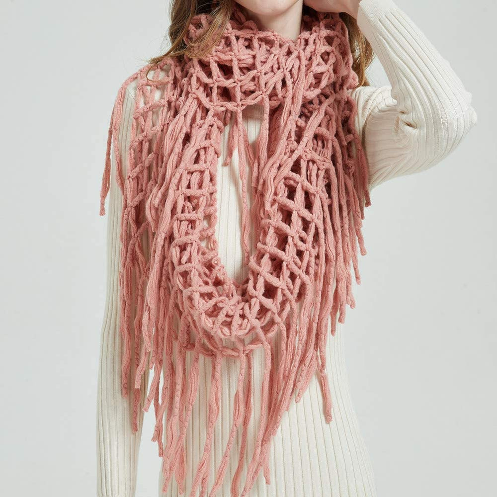 Winter Women Thick Cable Knit Ribbed Infinity Circle Loop Scarf