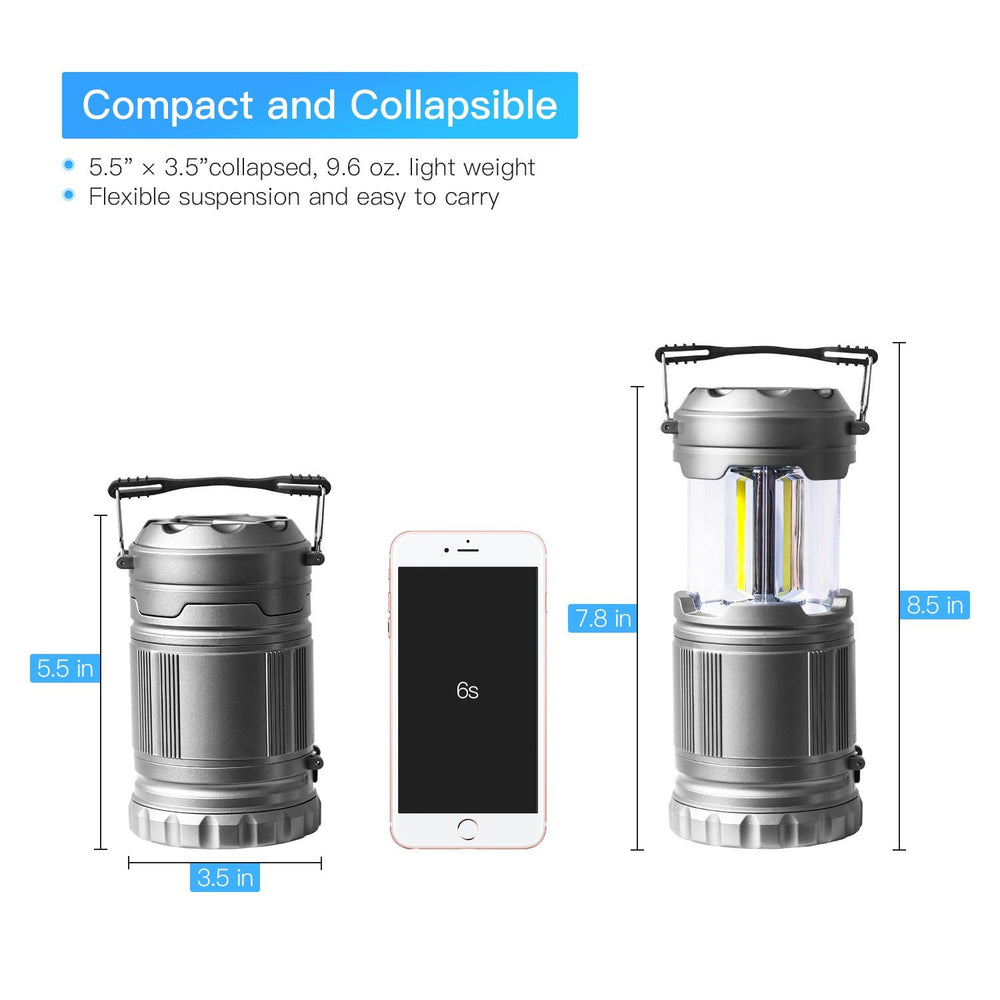 2 Pack: Ultra Bright LED Collapsible Camping Lantern Flashlights