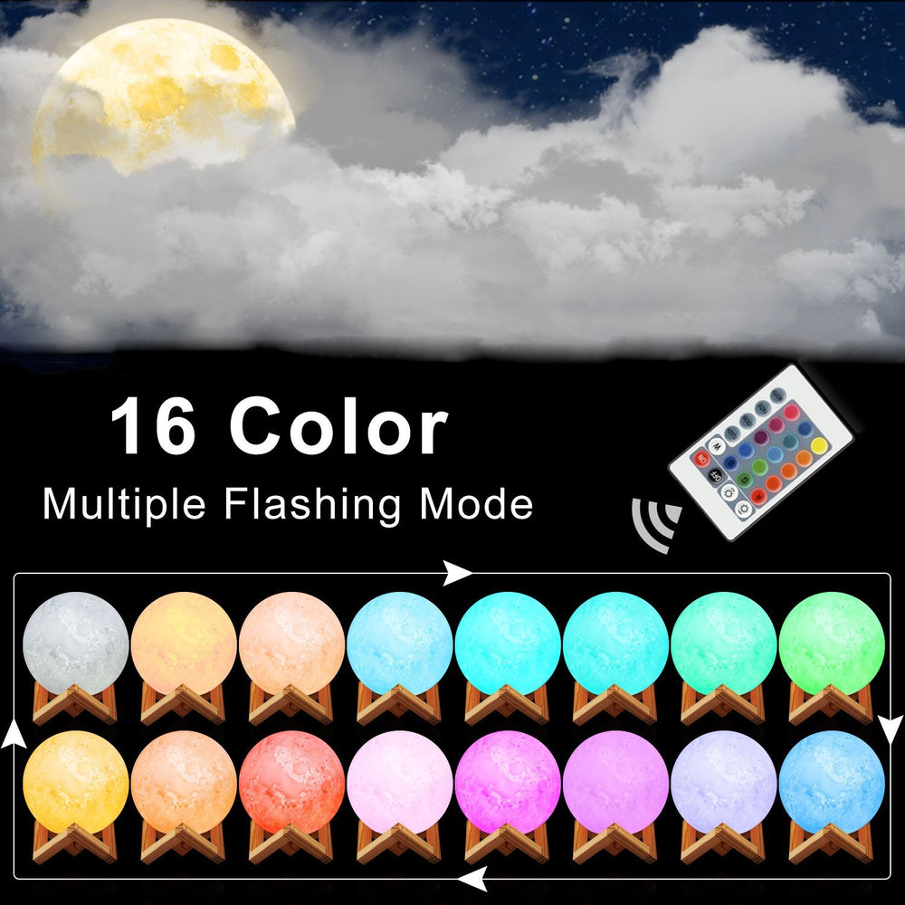 LED Remote Control Color Changing Moon Lamp with Stand