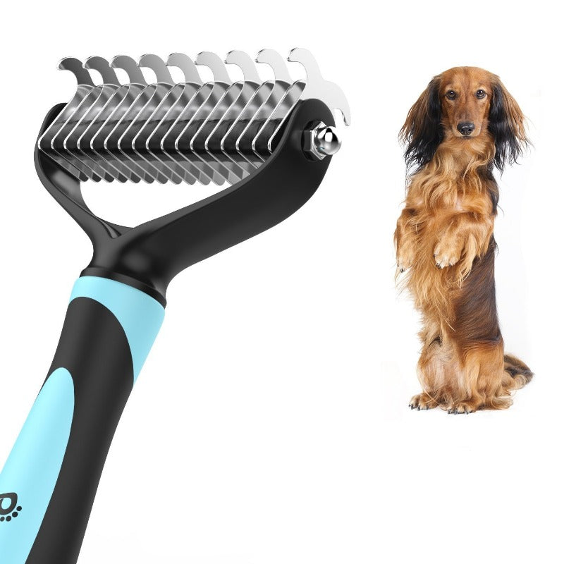 Pet Dematting Comb - Pet Grooming Comb with Dual Sided 9+17 Rake for Dogs and Cats Of All Sizes, Gently Removes Loose Undercoat, Mats, Tangles and Knots