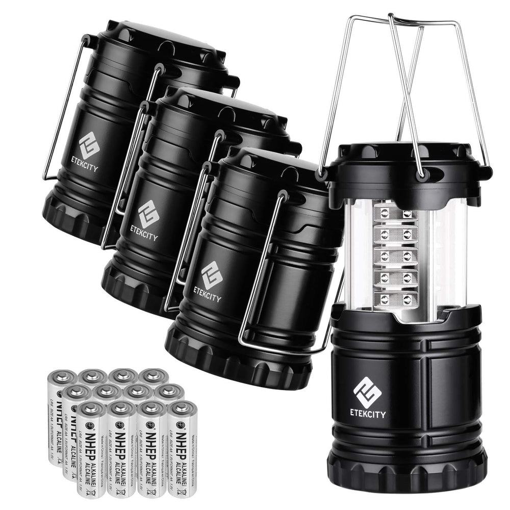 4 Pack: Green Alien Portable Collapsible LED Camping Lantern