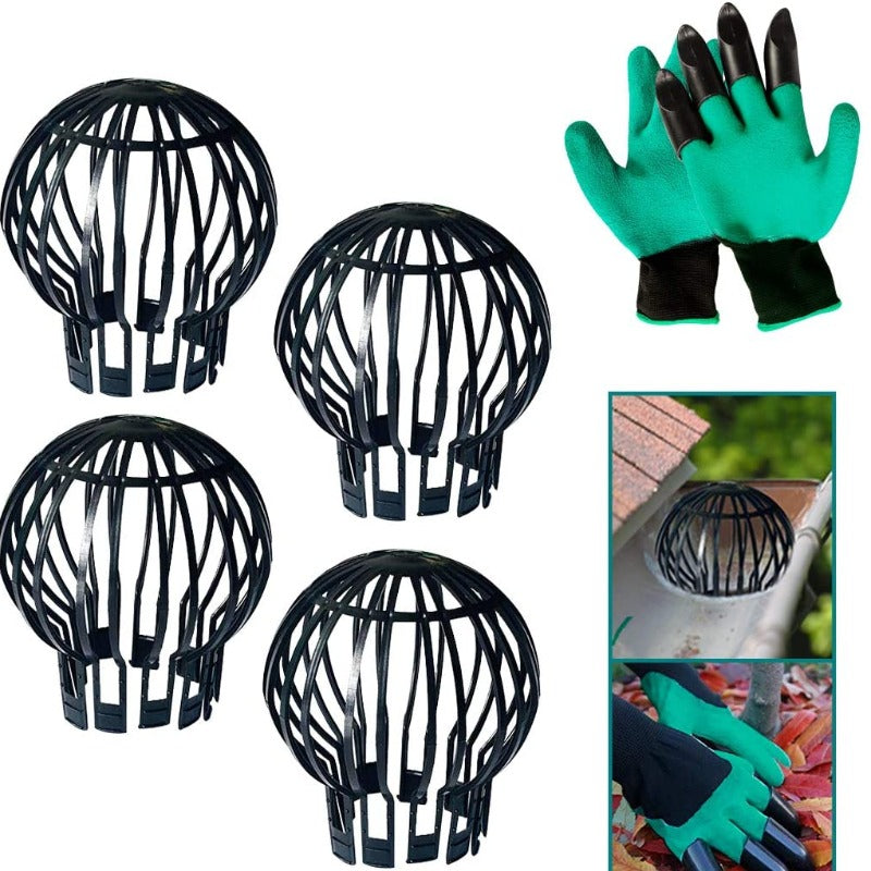 4 Pack: Down Pipe Gutter Filter Guards with Free Claw Gloves