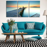 "3 Piece: Seascape ""Sunset on Ocean Beach"" Canvas Art Print Wall Decoration"