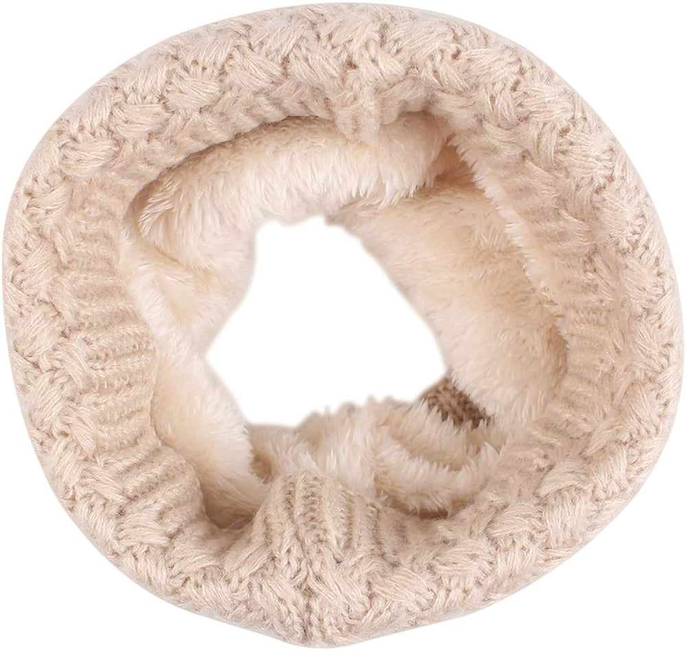 Women Winter Knitted Scarf Unisex Circle Loop Scarves Thick Fleece Neck Warmer for Men