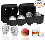 2 Pack: Silicone Ice Cube Trays - Giant Black Skull & Round Ice Cube Molds