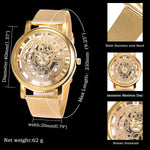 SIBOSUN Men's Watches with Skeleton Face Wrist Watch for Men Gold Mesh Stainless Steel Band Quartz Analog