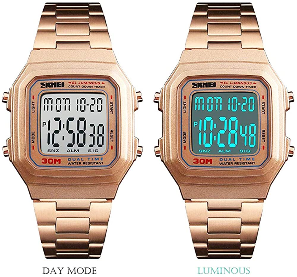 Men's Digital Watch Gold, Waterproof Analog Quartz Square Watch with Countdown Stopwatch Alarm Date…