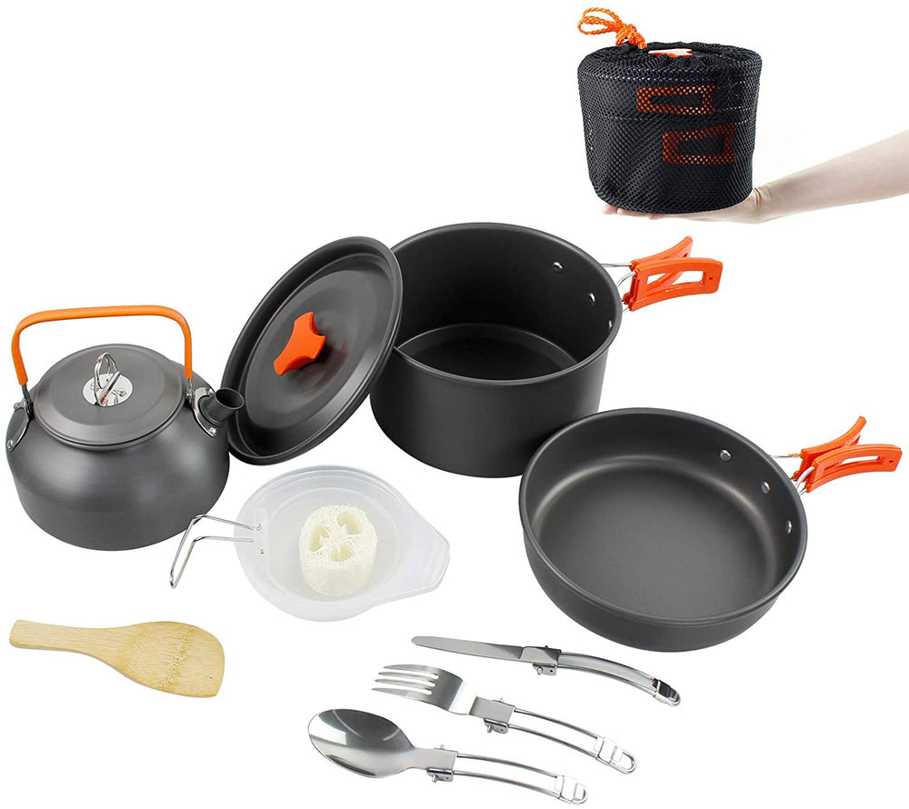 MMEXPER Aluminum Camping Cookware Set Lightweight Durable Equipment Non-Stick Cookset for Family Hiking, Camping (Kettle, Pot, Frying Pan)
