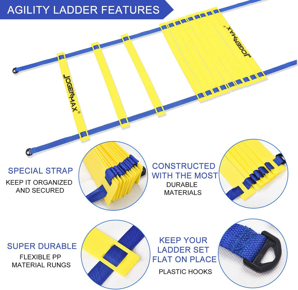 JOGENMAX Speed & Agility Training Set - Includes Resistance Parachute, Agility Ladder, 4 Adjustable Hurdles, 12 Disc Cones, Leg Resistance Tube and Stretching Strap Training Equipment for All Sports