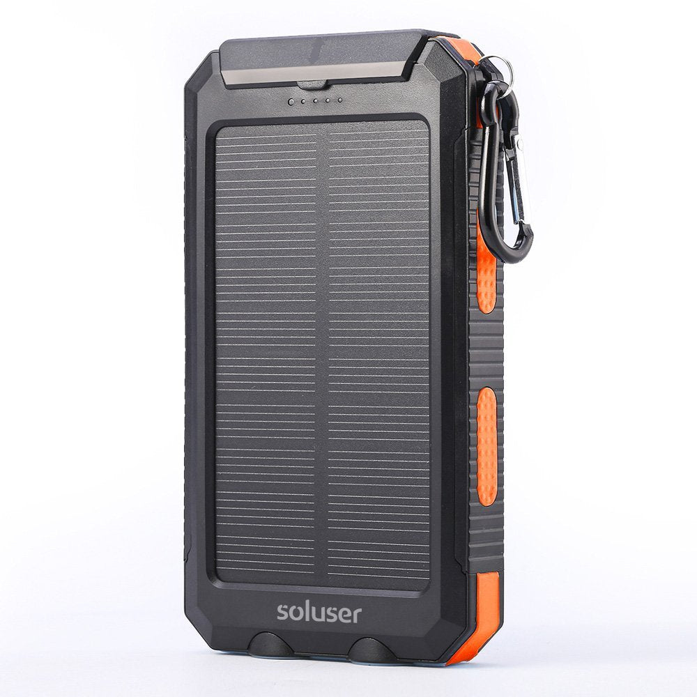 Solar Powered Waterproof Camping 10000mAh Power Bank with 2 USB Charge Ports, LED Flashlight and Compass