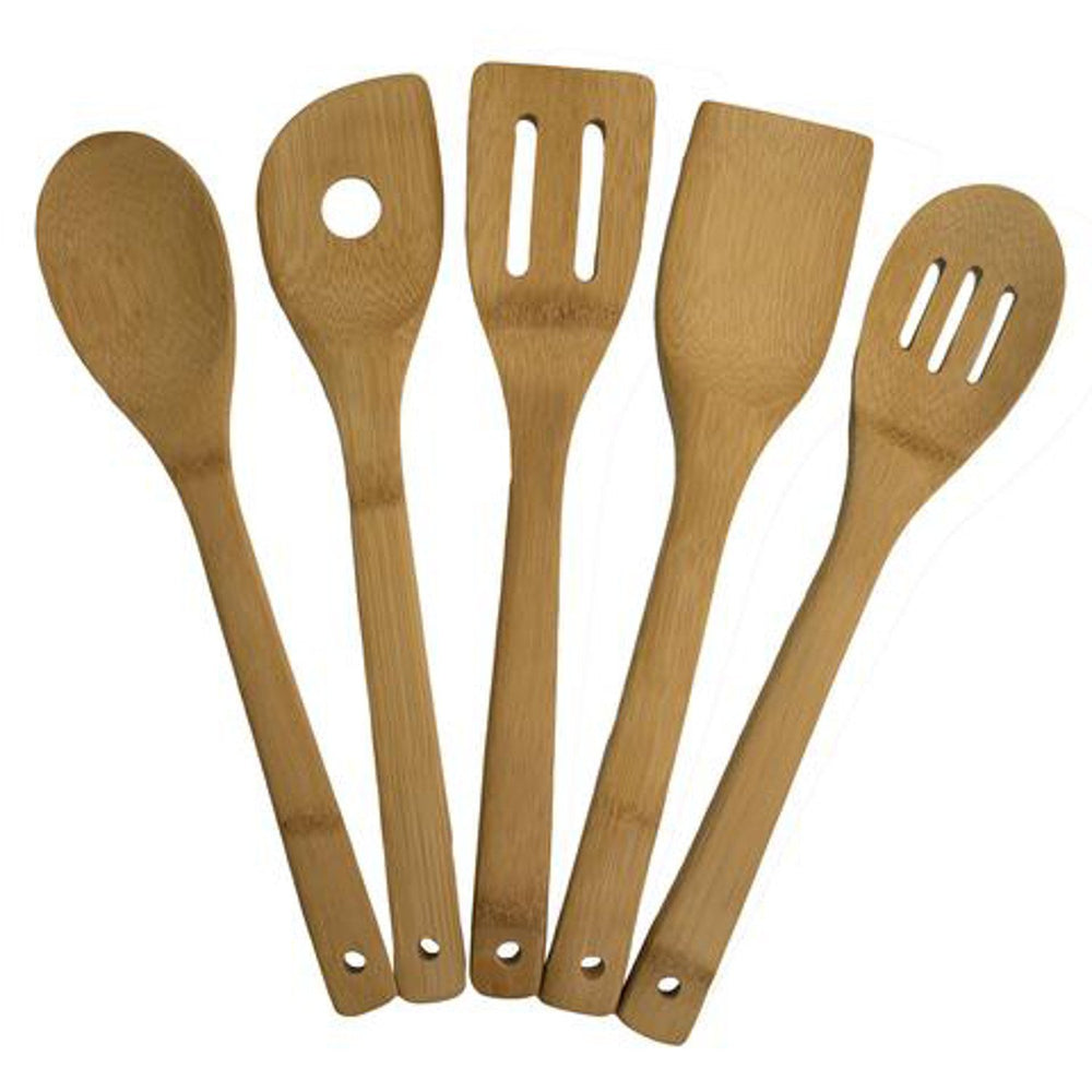 5 Piece: Organic Bamboo Kitchen Utensil Set