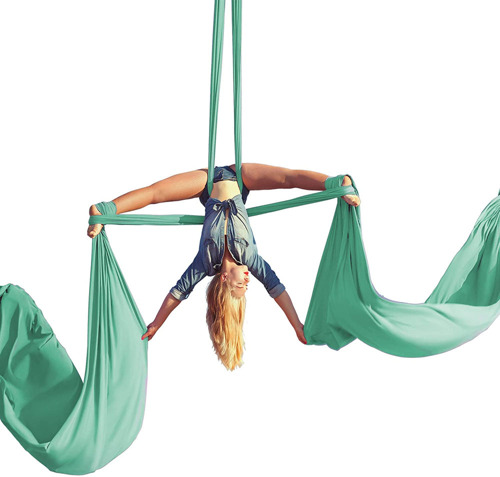 Aum Active Aerial Silks Beginner Kit - Acrobatic Flying Dance Yoga Trapeze Aerial Yoga Hammock Swing - Includes 9 Yards of Aerial Tricot Fabric, Hardware & Guide - for Rigging Point Upto 13ft