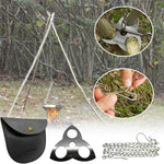 HUBUISH Camping Tripod Board Accessories - Turn Branches into Campfire Tripod Grill for Cooking, Portable Camping Gear and Equipment for Camper/Hiker Travel Outdoor Firepit Hang Pot Cooking