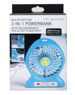 Itek 3-In-1 Multi-function Power Bank with Rechargeable Fan and LED Flashlight by SoundLogic