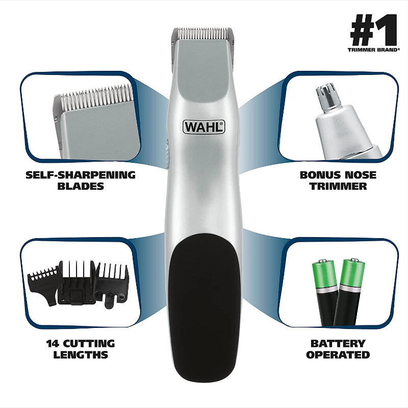 Wahl Battery Operated Beard And Mustache Grooming Kit With Free Nose Hair Trimmer