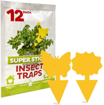 Fruit Fly Traps,Sticky Traps and Gnat Traps for Indoor/Outdoor Use,Gnat Killer for Fruit Flies,Mosquitoes,Flying Insects,Fungus Gnats (12 Pack)