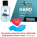 Germ Shark Hand Sanitizer Gel with Alcohol - Set of 2 (two) 500ml (33.8 ounces total) Pump Bottles of Hand Sanitizer with Alcohol - 75% Ethyl Alcohol