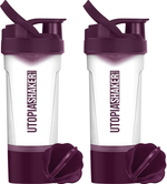 2 Pack BPA Free & Leakproof Utopia Home Shaker Bottles With Twist and Lock Protein Storage Box