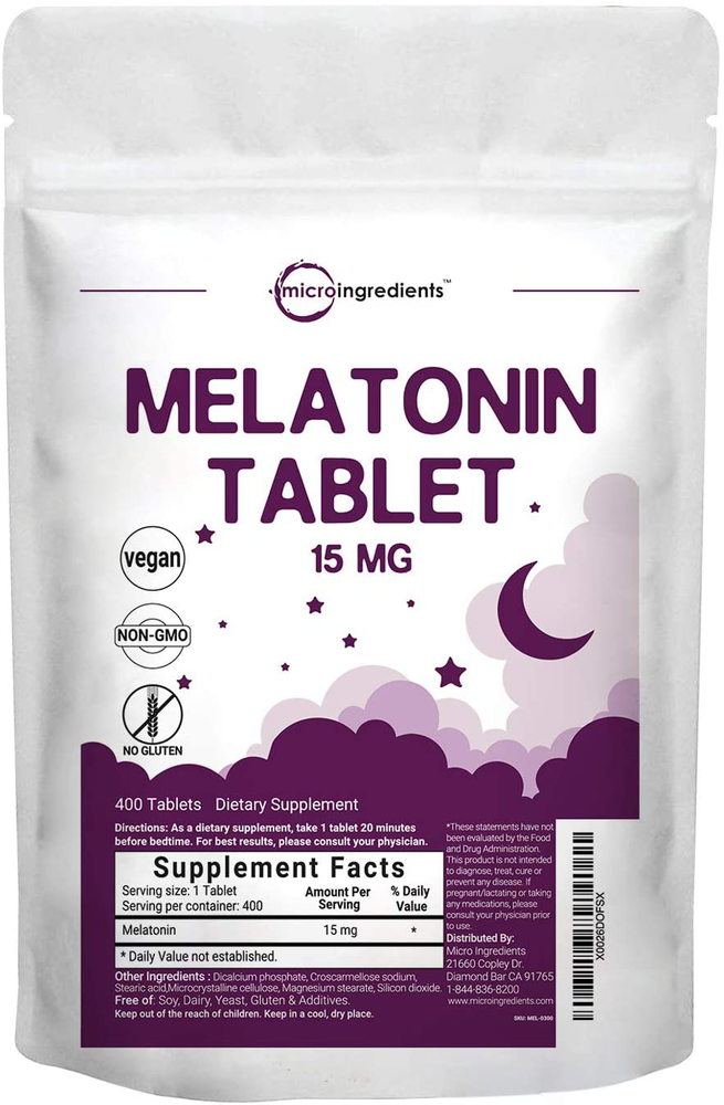 400 Count 15mg Advanced Sleep Melatonin Tablets
